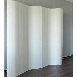 Paravent Design En Bambou 200 X 250 Cm Blanc Achat
