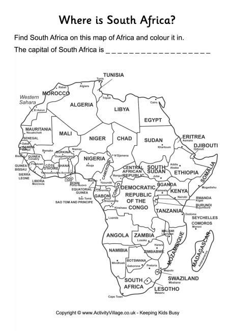 south africa location worksheet
