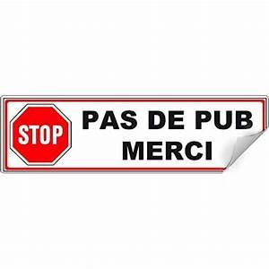 Pas De Pub Merci : stop pub sur tiquette pour boite aux lettres autocollant ~ Dailycaller-alerts.com Idées de Décoration