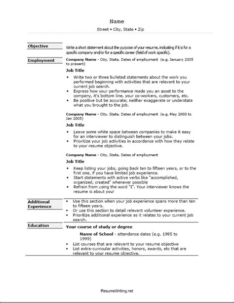 resume exles templates sle resume template exle
