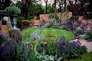 Beautiful lawn and flower garden