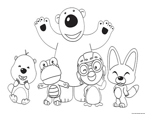 printable pororo   penguin  friends coloring