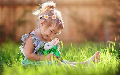Rabbit Play Wallpapers Playing Bunny Child Children