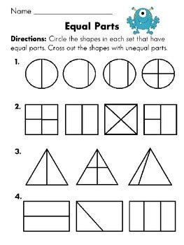 equal parts or not equal parts worksheet with