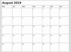 August 2019 Month Calendar
