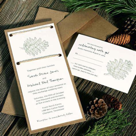 pinecone wedding invitations rustic wedding chic