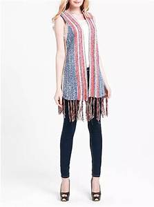 Head Size Chart Womens Knit Vest Red Blue And White Fringe