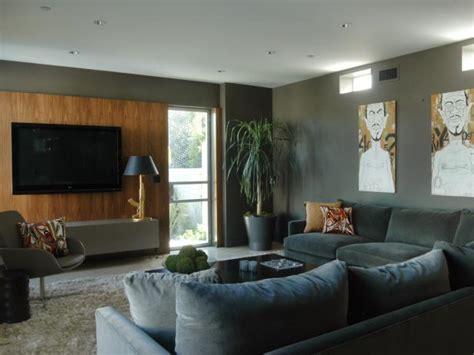 Grey Living Room Hgtv by Modern Grey Living Room With Flat Screen Tv Hgtv