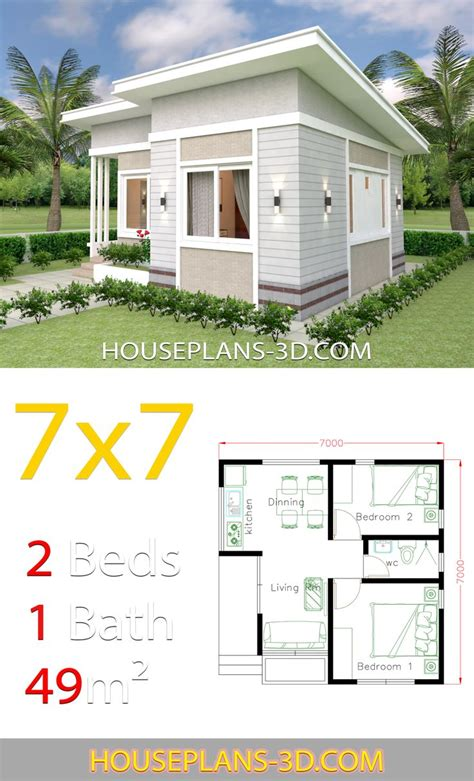 Small House Design Plans 7x7 with 2 Bedrooms House Plans