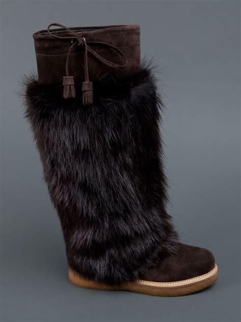 lyst moncler beaver fur boot  brown