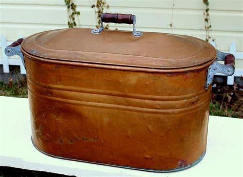 antique vintage copper boiler kettle wash tub  lid wood handles vintage copper copper ware