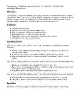 quality specialist resume professional quality improvement specialist templates to showcase your talent myperfectresume