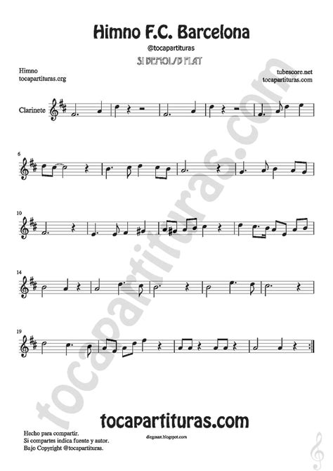 diegosax: Himno del FC Barcelona Partitura de Flauta