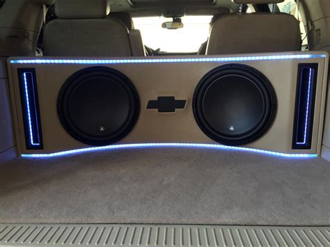chevy tahoe jl audio subwoofer box build  installation
