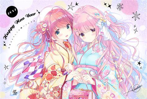 anime girls happy  year