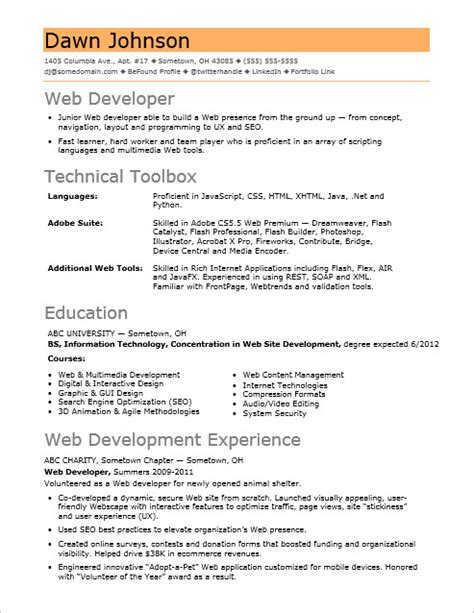 Entry Level Web Developer Resume by Sle Resume For An Entry Level It Developer