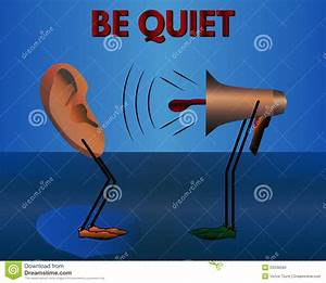 Warning: Be Quiet. Vector Cartoon. Stock Vector - Image ...