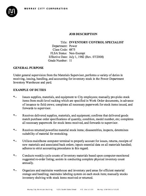 inventory specialist description resume inventory specialist description resume resumes design