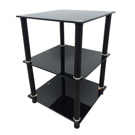 Living Room Side Tables Ebay by Black 3 Tier Square Glass Side Table Stand Living Room