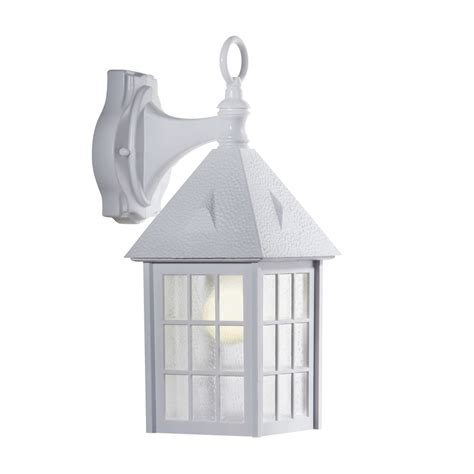 shop portfolio 15 13 in h white outdoor wall light at