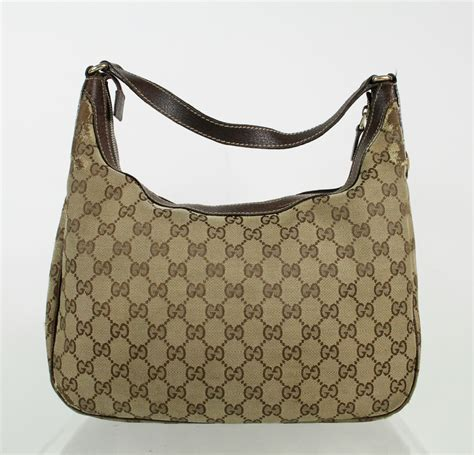 gucci gg signature brown leather monogram canvas small