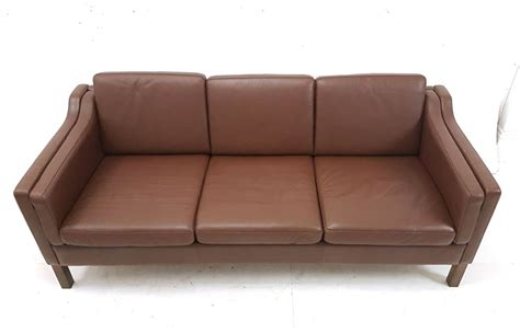 Compact 3 Seater Sofa by Compact 3 Seat Box Design Brown Leather Sofa