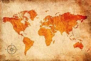 Carte Du Monde Design : decoration murale carte du monde horizon de couleurs oranges home photo ~ Teatrodelosmanantiales.com Idées de Décoration