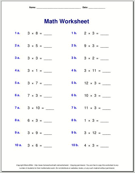 multiplication worksheets for grade 3 educational math