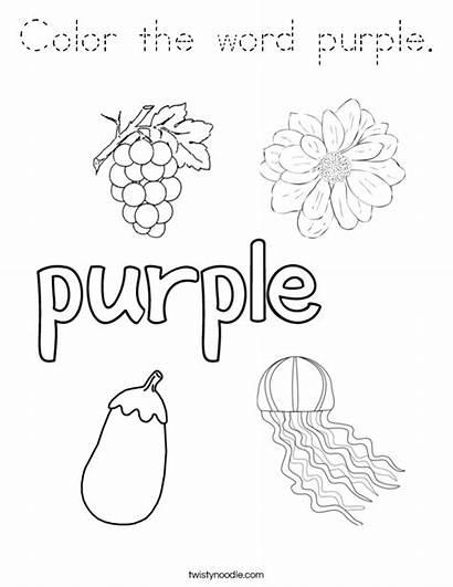 Purple Coloring Word Noodle Outline Twisty Built