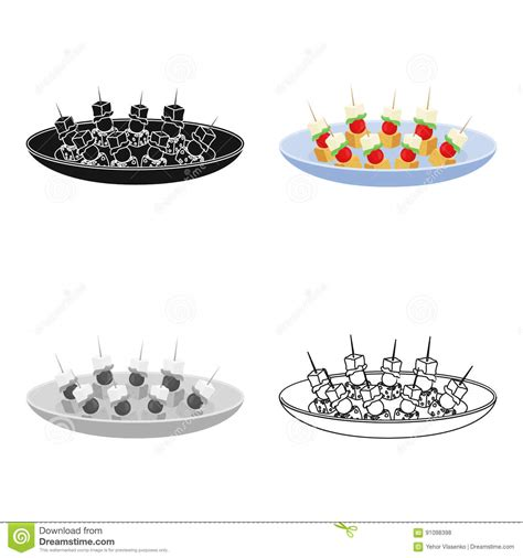 canap victor canape on the plate icon in style isolated on
