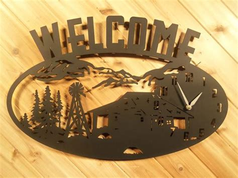 Clock Welcome Sign Mountains Cabin Windmill By Precisioncut