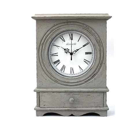 shabby chic mantle clock leonardo grey shabby chic mantle clock with drawer lp28612 ebay