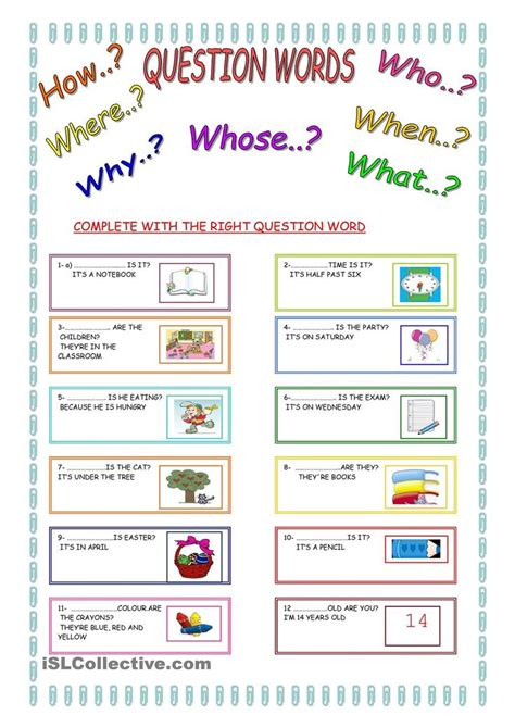 16 best images about question words gor on