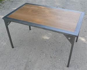 Table Bois Metal Extensible : photo table a manger metal et bois ~ Teatrodelosmanantiales.com Idées de Décoration