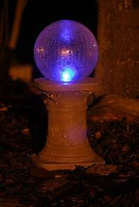 Solar Chameleon Gazing Ball  U0026 Pedestal With Crackled Glass