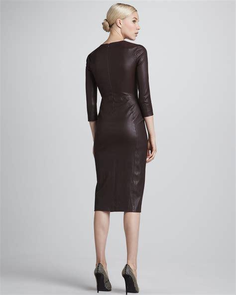 lyst alc bechet formfitting leather dress  brown