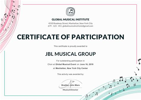 Certificate Of Participation Template Free Choir Certificate Of Participation Template In Adobe