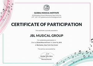 Free choir certificate of participation template in adobe for Free participation certificate templates for word