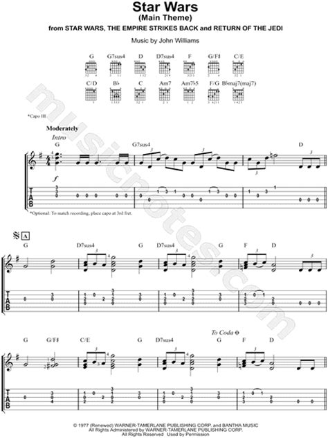 empire flooring theme song quot star wars main theme quot from star wars guitar tab in g major download print sku mn0160204