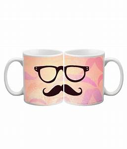 Juvenile Cool Moustaches Ceramic Mugs-350ml: Buy Online at ...