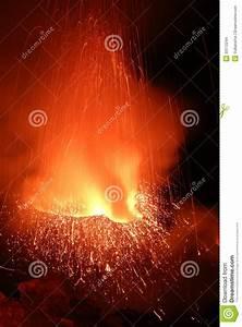 Strombolian Eruption Volcano Stromboli Erupting Stock