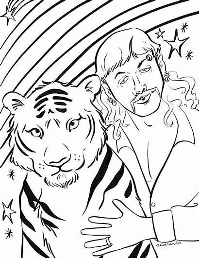 Tiger Coloring King Printable Joe Exotic Sheets