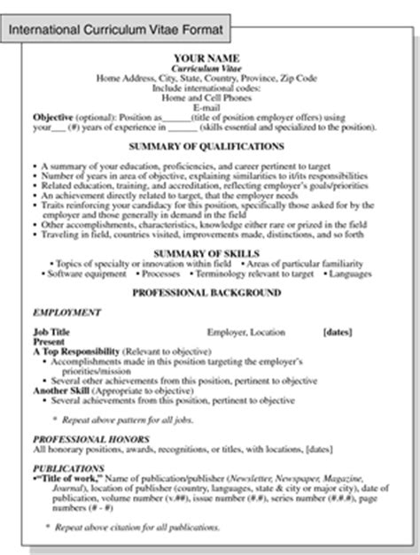 resume for abroad template international curriculum vitae resume format for overseas dummies