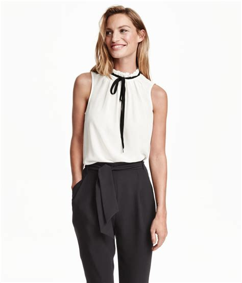 h m blouses h m sleeveless blouse with a tie in white lyst