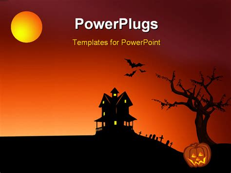powerpoint template halloween depictions  haunted