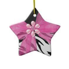 zebra print pink lipstick christmas ornament christmas