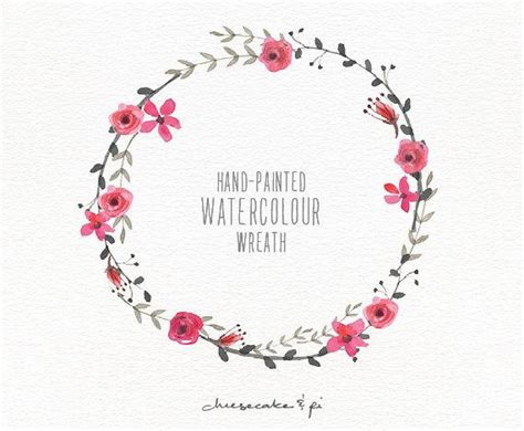 watercolor wreath painted floral wreath clipart commercial