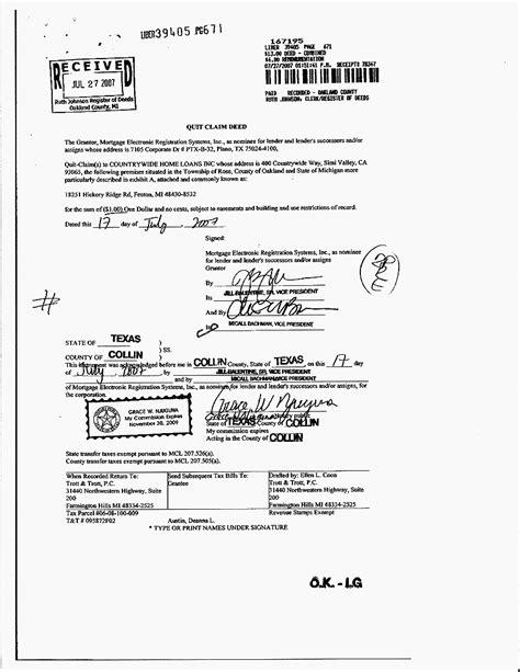 quit claim deed samples