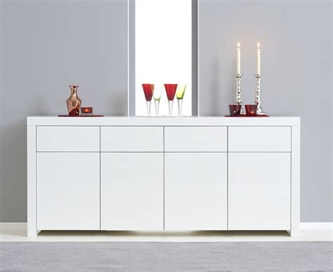 High Gloss White Sideboard by Hstead 4 Door 4 Drawer White High Gloss Sideboard The