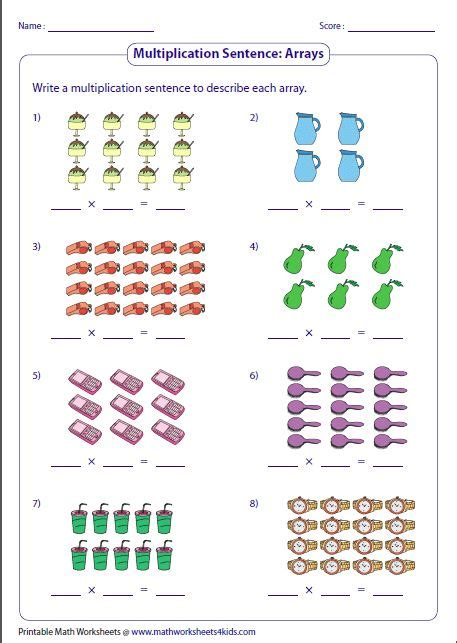 multiplication models worksheets array worksheets